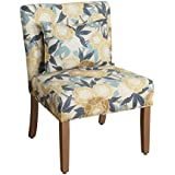 Kinfine K4638-A759 Parker Accent Chair and Pillow, Small, Yellow and Blue Floral