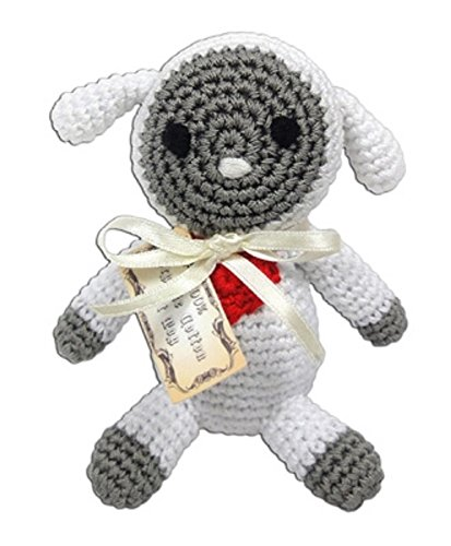 d Crocheted Knit Knacks Fleece the Lamb Sheep Organic Cotton Small Dog Toy, Bite Resistant Puppy Cat Toy Cleaning Teeth Knot, Pet Chew with Squeaker Inside ()