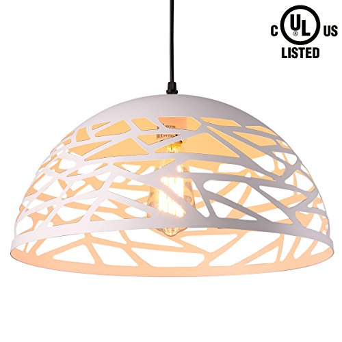 HOMIFORCE UL Listed Modern Style 1-light Contemporary Hollow Pendant light with Metal Shade in White Finish-Modern Industrial Edison Style Hanging CL2017050 (Leo White) by HOMIFORCE