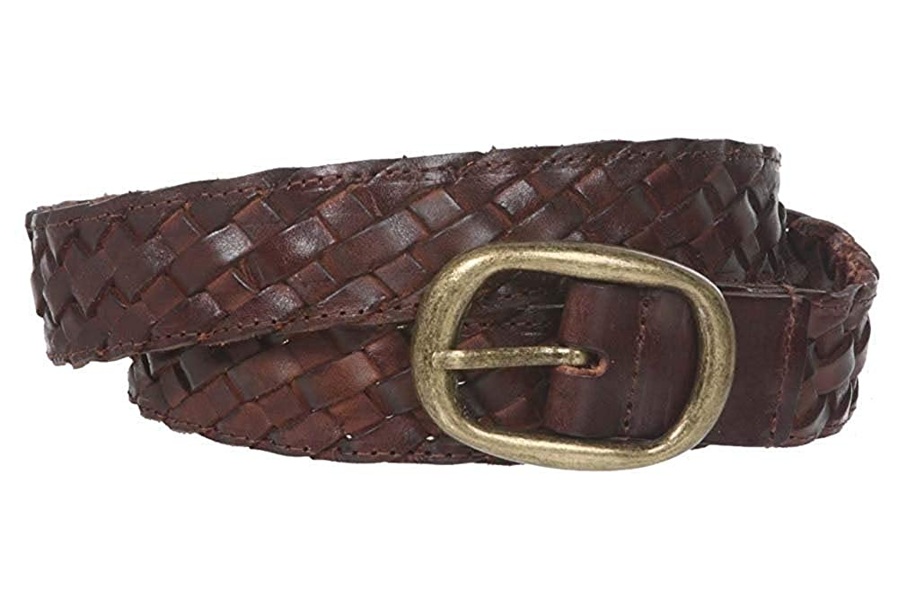 BBBelts Women 1-1//4 Brown Soft 100/% Leather Braided Oval Rustic Buckle Belt