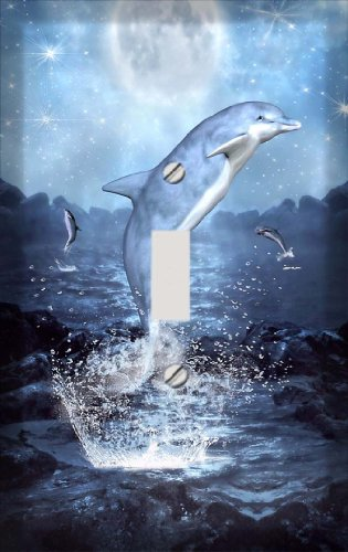 Moonlit Dolphins Switchplate - Switch Plate Cover (Dolphin Switchplate)