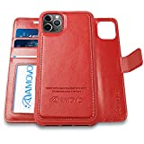 AMOVO Case for iPhone 11 Pro (5.8'') [2 in 1] iPhone 11 Pro Wallet Case Detachable [Vegan Leather] [Hand Strap] [Stand Feature] iPhone 11 Pro Flip Folio Case Cover with Gift Box Package (Red)