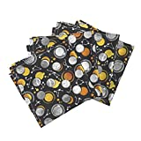 Roostery Sun Galaxy Universe Moons Solar Eclipse Gold Black and White Organic Sateen Dinner Napkins Great Total Solar Eclipse by Selmacardoso Set of 4 Dinner Napkins