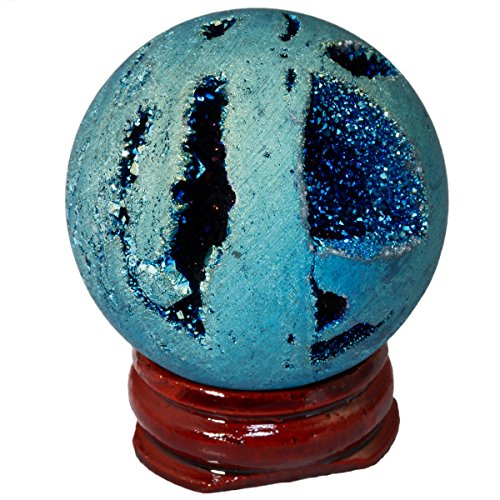 rockcloud Natural Titanium Coated Druzy Agate Geode Light Green Flame Aura Ball Divination Sphere with Wood ()