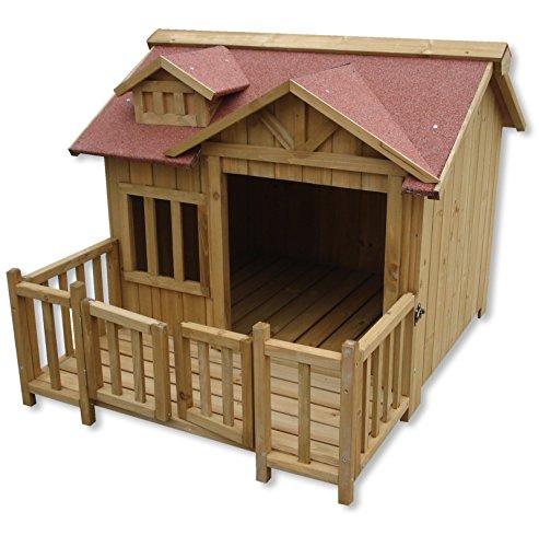 Luxus XL Hundehütte Hundehaus Massiv Holz mit Balkon Terasse