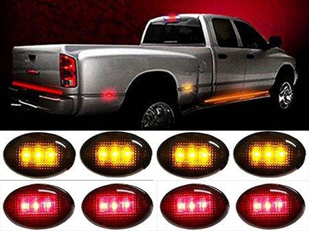 Partsbox 4pcs Red+4pcs Amber LED Fender Bed Side Marker Lights Set Smoked Lens For Ford F350 F450 HD Truck
