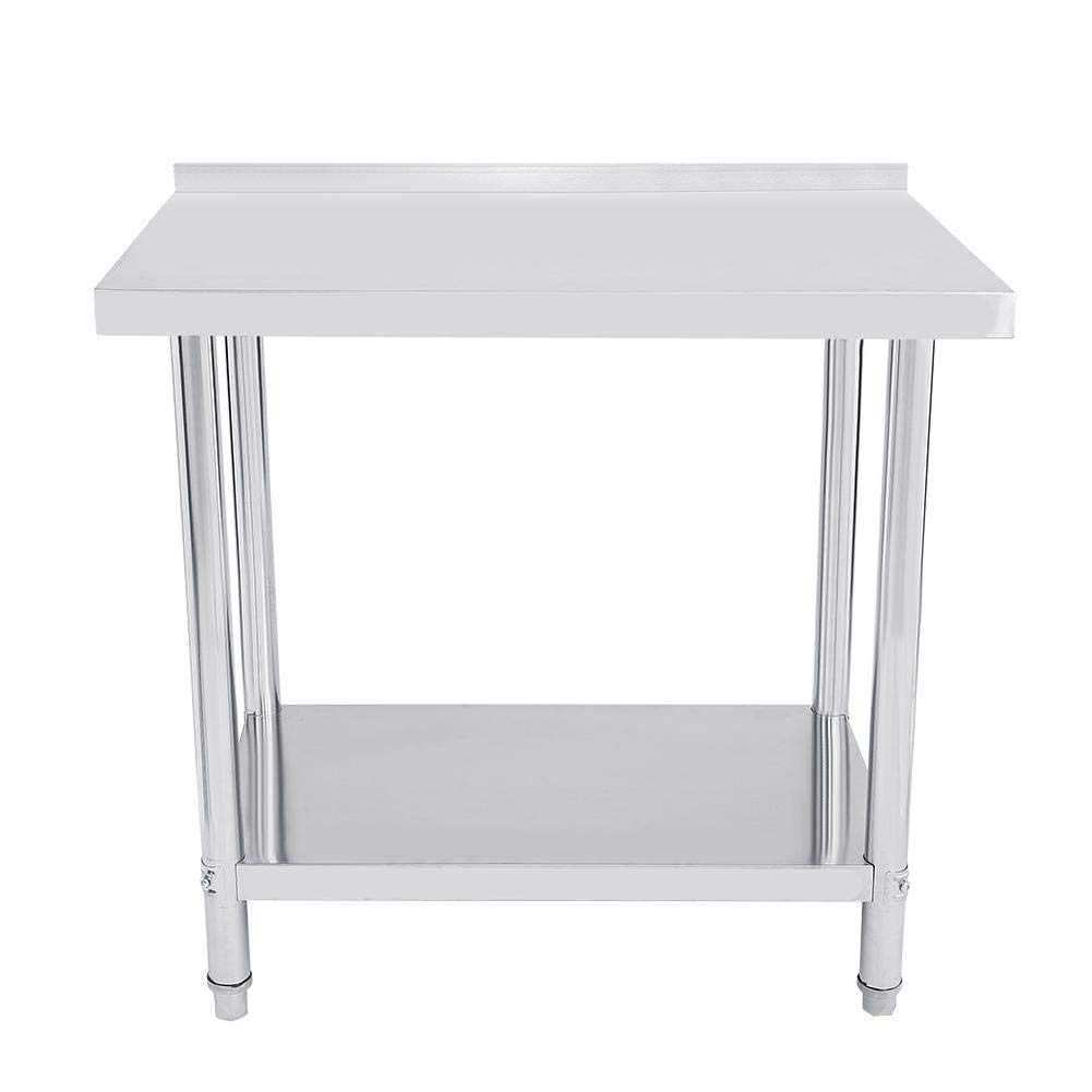 Double Layer Operating Platform Work Station Kitchen Desk Large Storage Space for Restaurant Business Warehouse Home Kitchen Garage Stainless Steel Commercial Kitchen Prep /& Work Table 36x24x33.5