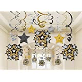 Amscan Hollywood Movie Themed Star Studded Hanging Swirl Decoration (30 Piece), Black/Gold/Silver, 17.5 x 9.5""