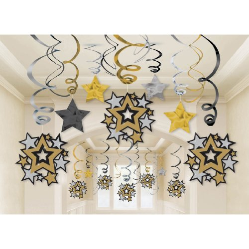 [Black, Gold and Silver Hollywood Movie Themed Party Star Studded Hanging Swirl Decorations, Paper, Pack of] (Movie Star Costume Party)