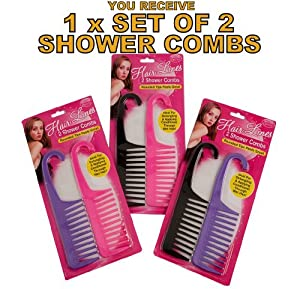 2 SALON HAIRDRESSING SHOWER WIDE TOOTH DETANGLER DETANGLING WET HAIR BRUSH COMB by Guaranteed4Less
