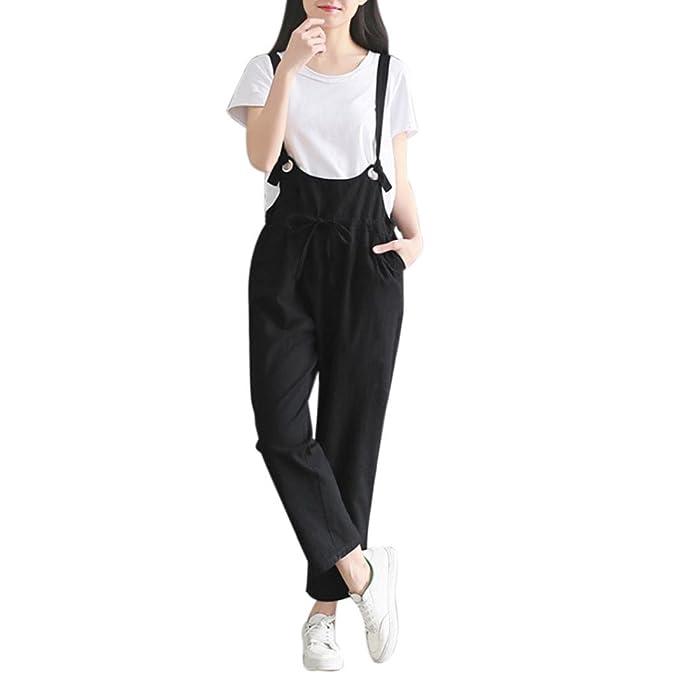 Pantalón Mujer de Ba Zha Hei, Mujeres Sueltas Casual Baggy Jumpsuit Strap Bib Pantalones Pantalones