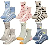 HzCodelo Kids Toddler Big Little Girls Fashion Cotton Crew Seamless Socks -6 Pairs,Multicolor,Shoe size 10.5-13/M