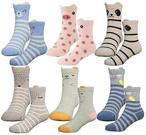 HzCodelo Kids Toddler Big Little Girls Fashion Cotton Crew Seamless Socks -6 Pairs,Multicolor,Shoe size 12.5-3/L by HzFluo.Codelo (Image #5)