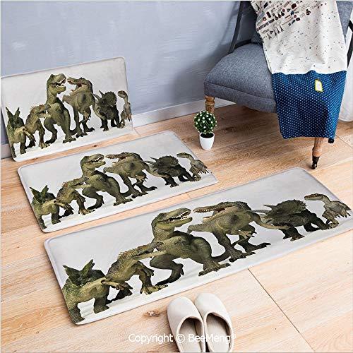 3 Piece Indoor Modern Anti-Skid Carpet Printed Block Bathroom Carpet,Kids,Dinosaurs T Rex Jurassic 3D Dino Art Design History,20x31/20x59/28x55 -