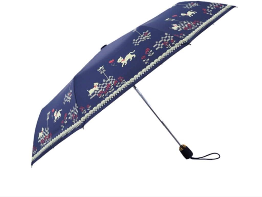 Sunny Umbrella Tri-fold Fully Automatic Ms Parasol Blue Adult Black Tape Windproof Waterproof QQYSD LYX Folding Umbrella