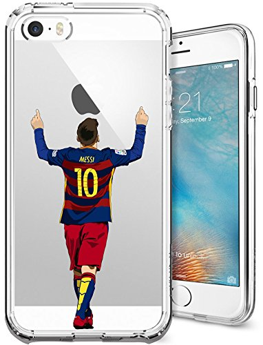iPhone 5/5s/SE Case, Chrry Cases Ultra Slim [Crystal Clear] [Soccer Series] Lionel Messi Soft Transparent TPU Case Cover for Apple iPhone 5/5s/SE - Leo Messi