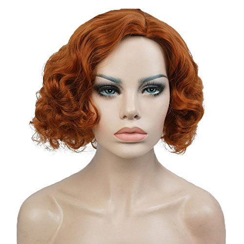 Aimole Short Wavy Wigs Women's Vintage Flapper Wig Party Cosplay Hair Red]()