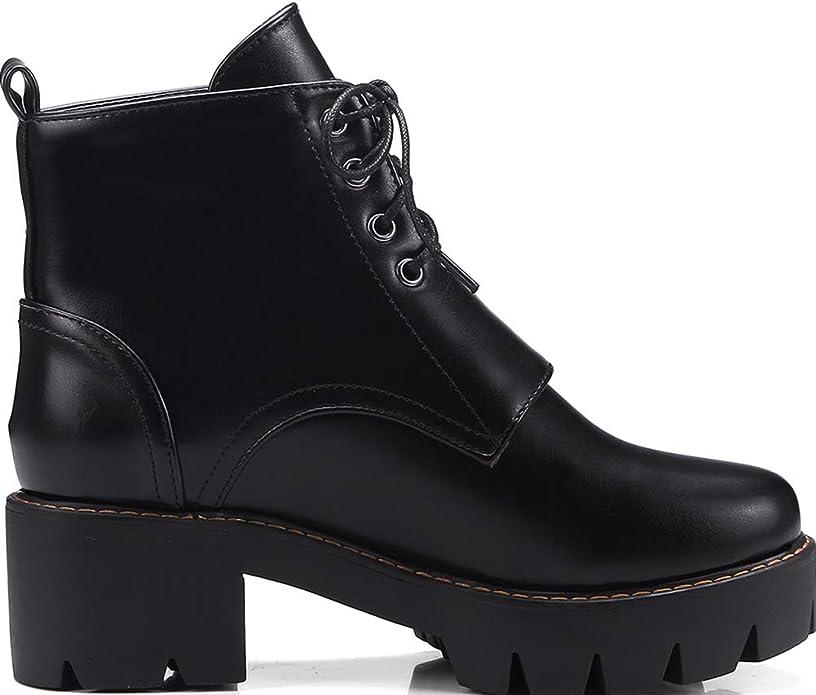 Chila Zuban Women Fashion Martin Boots Autumn Platform Chunky High Heels Buckle Lace Up Booties Antislip Shoes Black Size 41 Asian
