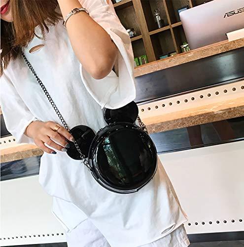 Crossbody Forma Bolso Ratón Cadena Black Hombro Mujer PU Bolso Qiulv Black Moda Verano Totalizador HATEwq