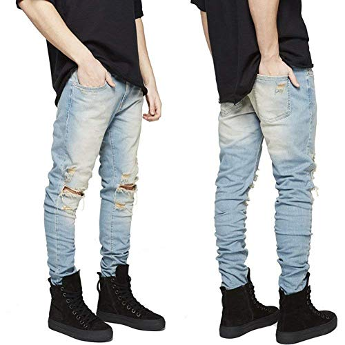 Pantaloni Fashion Uomo Jeans Stretch Distrutto Strappato Holes Slim Fit Giovane Vintage Black12 Biker npqw0YPxtZ