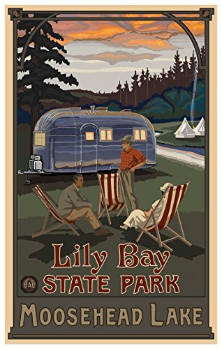 Lily Bay State Park Maine Airstream Trailer Giclee Travel Art Poster by Artist Paul A. Lanquist (12 x 18 inch) Art Print for Bedroom, Living Room, Kitchen, Family and Dorm Room Wall Décor