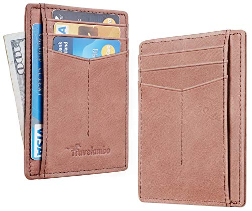 (Travelambo RFID Front Pocket Minimalist Slim Wallet Genuine Leather Small Size (hunter vintage brown))