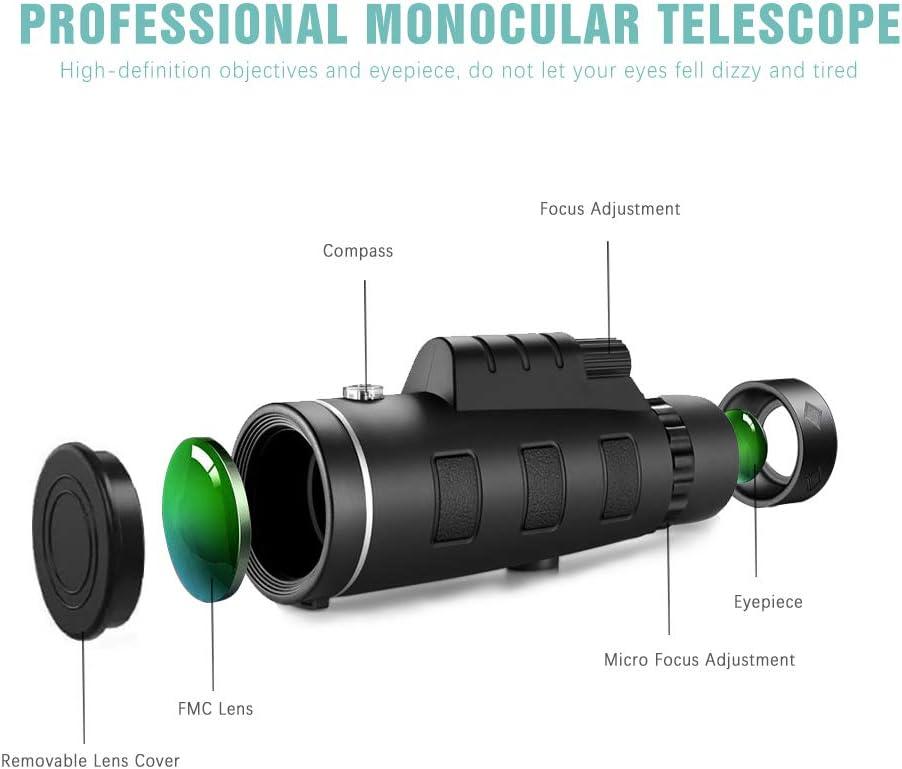 12 x 50 alta definici/ón FMC BAK4 【Monocular HD para observaci/ón de aves】 con soporte para smartphone y tr/ípode IPX7 materiales impermeables para camping. GothicBride Telescopio monocular