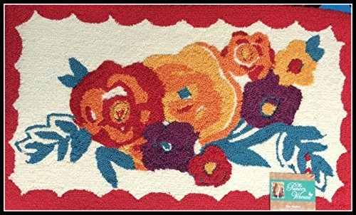Pioneer Woman Kitchen Rug Mat Bright Floral Hand Hooked 18