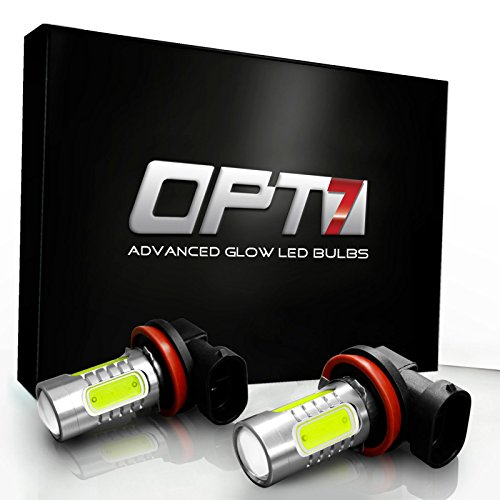 OPT7 Show Glow Plasma H10 9140 9145 9040 LED Fog Light Bulbs - COB 6000K Cool White @ 420Lm per Bulb and Colors - 1 Year Warranty (Pack of 2)