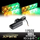 Xprite Amber/Yellow & Green 4 LED 4 Watt Emergency Vehicle Waterproof Surface Mount Deck Dash Grille Strobe Light Warning Police Light Head with Clear Lens