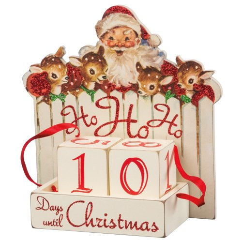 Primitives by Kathy Vintage Christmas Wood Countdown Box, Ho,