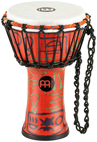 "Meinl Percussion Junior Djembe with Synthetic Shell and Head-NOT MADE IN CHINA-7"" Compact Size, Rope Tuned, Pharaoh's Script, 2-YEAR WARRANTY, JRD-PS, 7"""