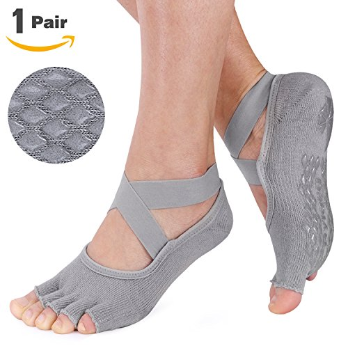 Muezna Non Slip Yoga Socks for Women, Toeless Anti-skid Pilates, Barre, Ballet, Bikram Workout Socks with Grips, Cotton
