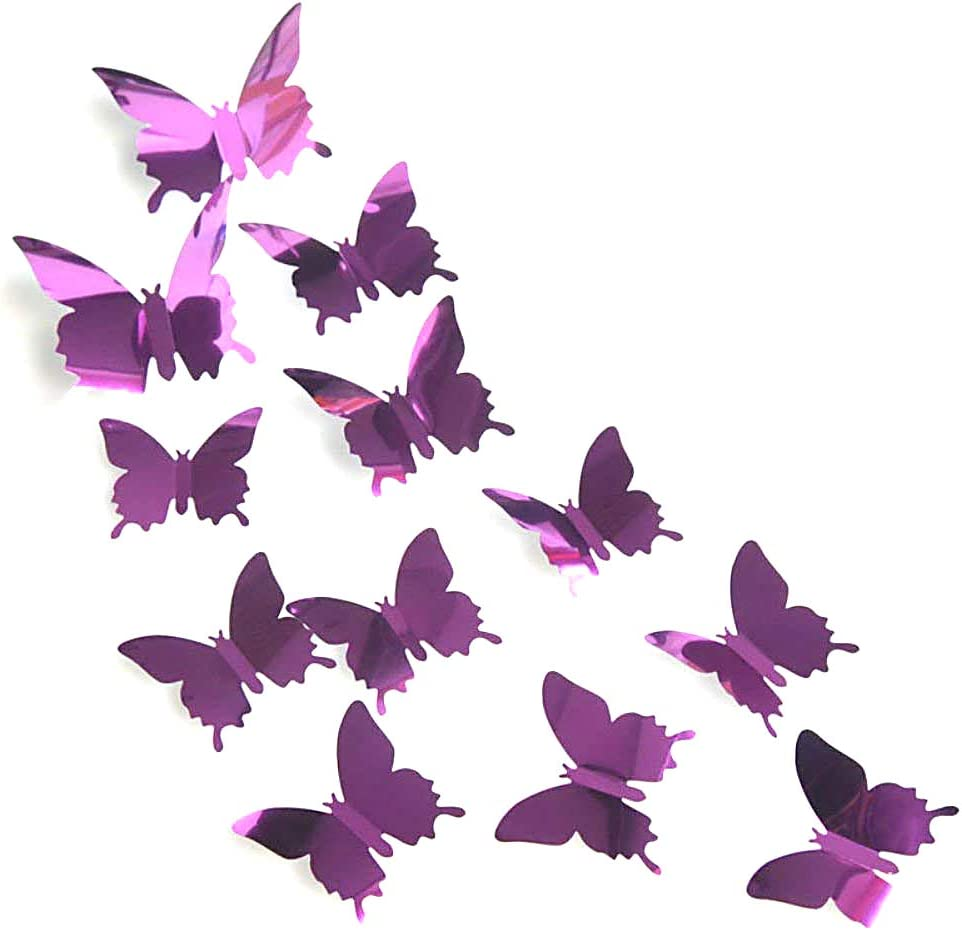 AKOAK 24 Pcs 3D Mirror Effect Butterfly Wall Sticker Art Decor Decals for Home Decoration or Party Decoration (Purple)
