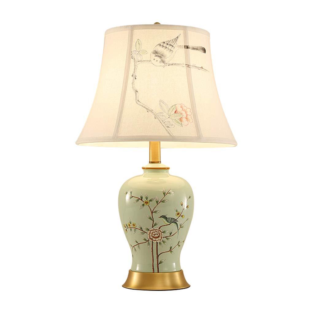 骨董品の装飾の枕元の電気スタンド33x55cmをつける陶磁器の青磁の卓上スタンドE27   B07SGB5BLY
