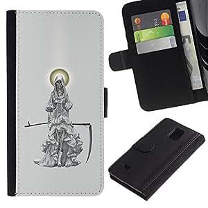 All Phone Most Case / Oferta Especial Cáscara Funda de cuero Monedero Cubierta de proteccion Caso / Wallet Case for Samsung Galaxy Note 4 IV // Grim Reaper Angel Scythe Death Cape