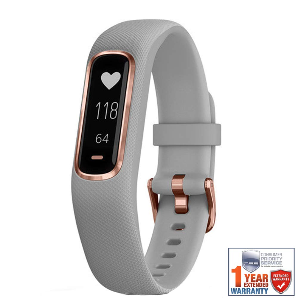 Garmin Vivosmart 4 Gray with Rose Gold Hardware S M 010-01995-12 with 1 Year Extended Warranty