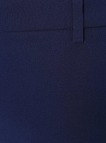 oodji Ultra Mujer Pantalones Stretch Ajustados Azul (7900N)