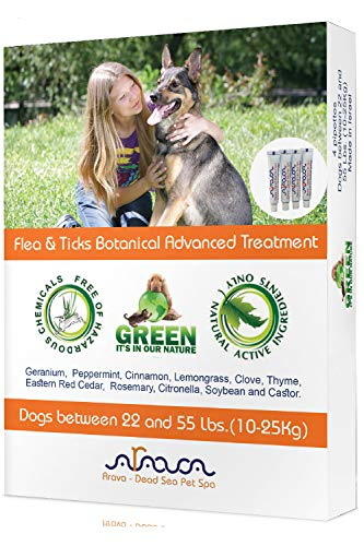 Arava Natural Flea & Tick Prevention for Dogs - 4-Doses - 100% Safe Dog Flea & Tick Control - Repels Pests with Natural Oils - Safe on Skin and Coats - Enhanced Defense & Prevention (3 Variations)
