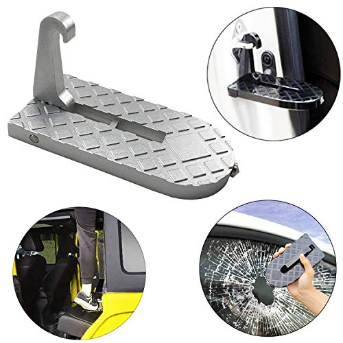 MOEBULB Car Doorstep Foot Pegs Folding Ladder Door Step Foot Pedal with Safety Hammer Vehicle Hooked on U Shaped Slam Latch Step Rails for Easy Access to Rooftop of Jeep/SUV/Truck - Foot Roof Ladder