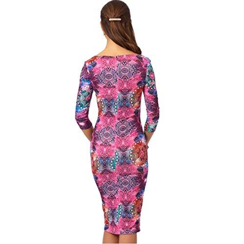 Midi Ladies 4 Print Dress Sleeve KDK Sexy 3 Galaxy Bodycon 4x781T