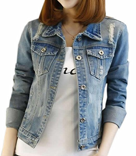 ARRIVE GUIDE Womens Classic Plus Size Long Sleeve Denim Jean Jackets Blue XXX-Large (Womens Plus Jean Jacket)