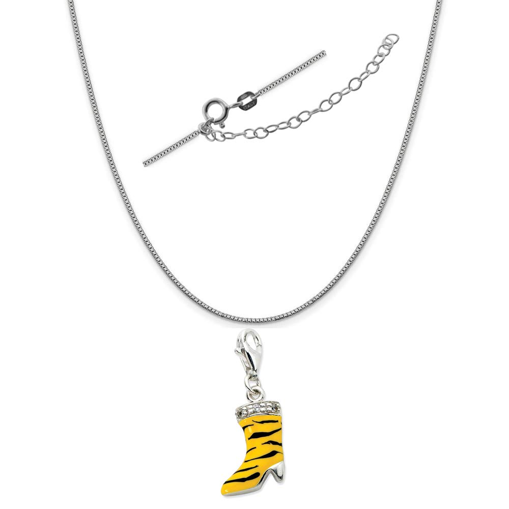 Sterling Silver Click-On CZ Enamel Tiger High Heel Boot Charm on an Adjustable Chain Necklace