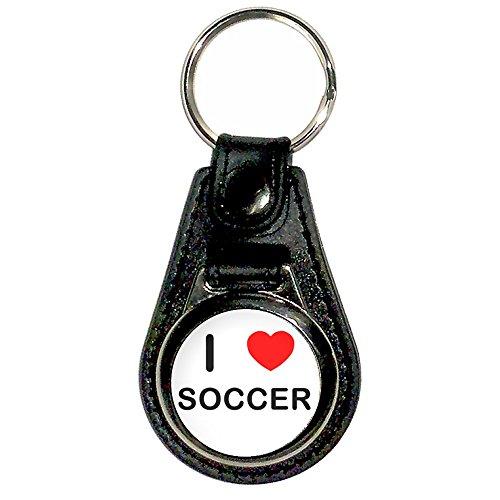 I Love Heart Soccer - Chrome Medallion Faux Leather Key (Soccer Medallion)