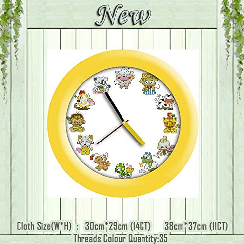 Flower Basket Clock face Fruit Rose Painting Counted Printed on Canvas DMC Cross Stitch Kits 11CT 14CT Needlework Set Embroidery - (Chinese Zodiac, Cross Stitch Fabric CT Number: 14CT - 14k Clock