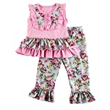Wennikids Little Girls' Floral Ruffled Bib Tank Top with Pant set XX-Large Pink