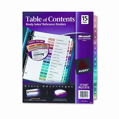 Ready Index Contemporary Table of Contents Divider (15 Tabs) [Set of 2]