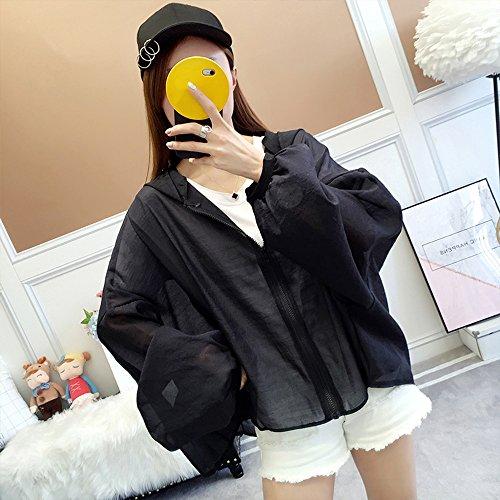 QFFL fangshaifu 夏のシフォンバットスリーブサンプロテクションシャツ/ファッションピュアカラーフード付き薄いコート(3色展開) (色 : ブラック)