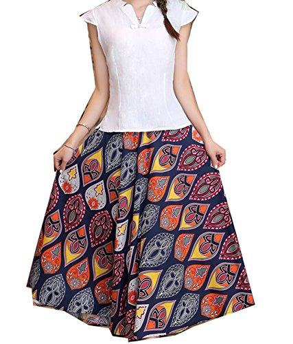 Donne Vestito Astage Delle `s Maxi Arancio Ovale Stampa Blu wtt4Eprq