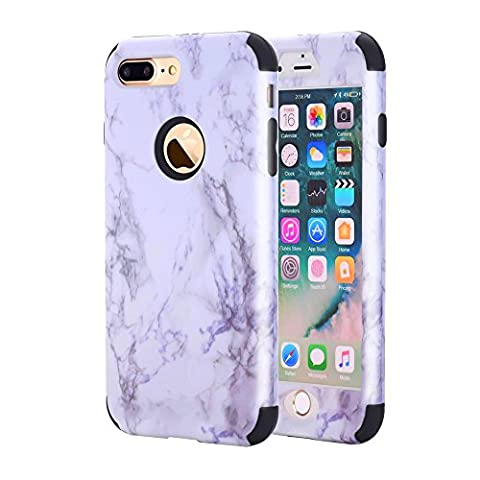 iPhone 7 Plus Case, GPROVA New Marble Design, Slim Dual Layer Protection Shockproof PC TPU Skin Cover for Apple iPhone 7 Plus (Black (Speck Like Iphone 5s Case)